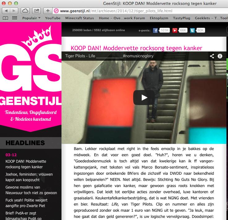 2014-12-03 | KOOP DAN! Moddervette rocksong tegen kanker | GeenStijl.nl