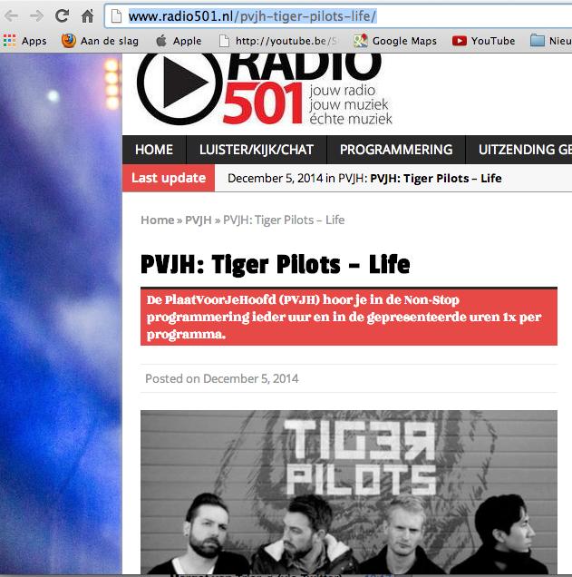 2014-12-06 |Ieder uur Tiger Pilots op Radio 501 voor No Music No Glory |Radio 501